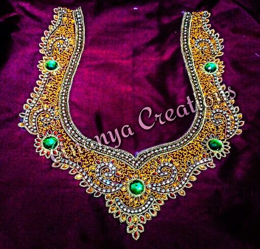 Aari Embroidery .. for combination with red and yellow