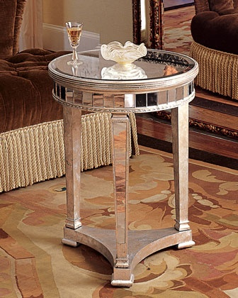 """""""Amelie"""" Mirrored Lamp Table. Antique silver finish"""