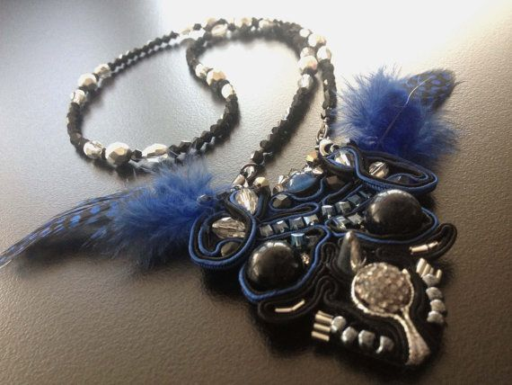 Handmade Soutache Necklace with Blusand Gem & Blue by BYTWINS, €130.00