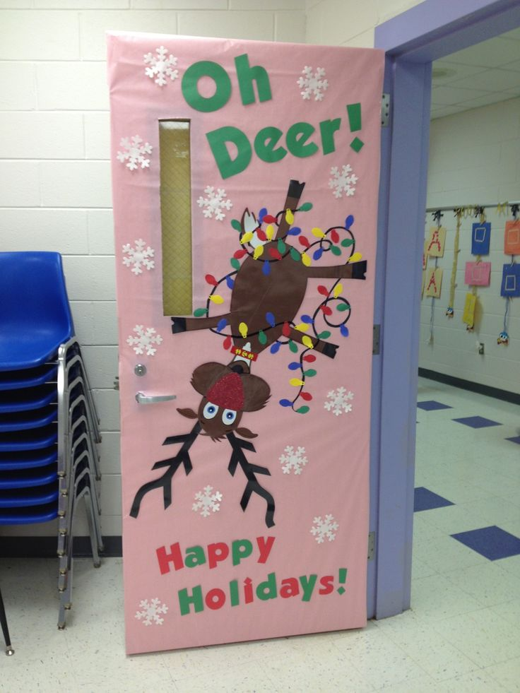 Going back to this idea with team mate-her door the reindeer will be holding the lights and face up, mine will have a tangle of lights and be upside down-CM