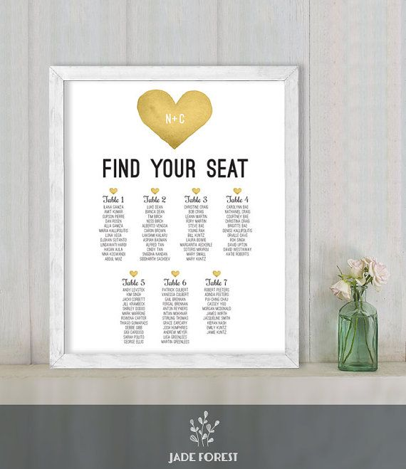 Wedding Seating Chart Sign DIY // Yellow Gold Whimsical Watercolor Heart // Find Your Seat // Printable Poster PDF ▷ Customized Sign