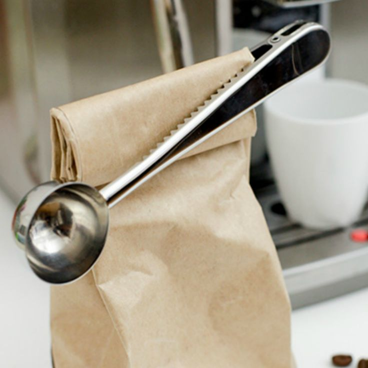 Coffee Scoop Bag Clip. Scoop what you need and hold the coffee beans bag closed with this innovative spoon. Made of metal with spring clip.