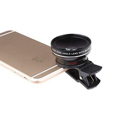Lightdow Universal UHD Camera Lens Kit for iPhone iPad Samsung Sony HTC Huawei Lenovo Smartphones and Tablets (0.45x Wide Angle + 15x Macro) (Black+Silver Line)