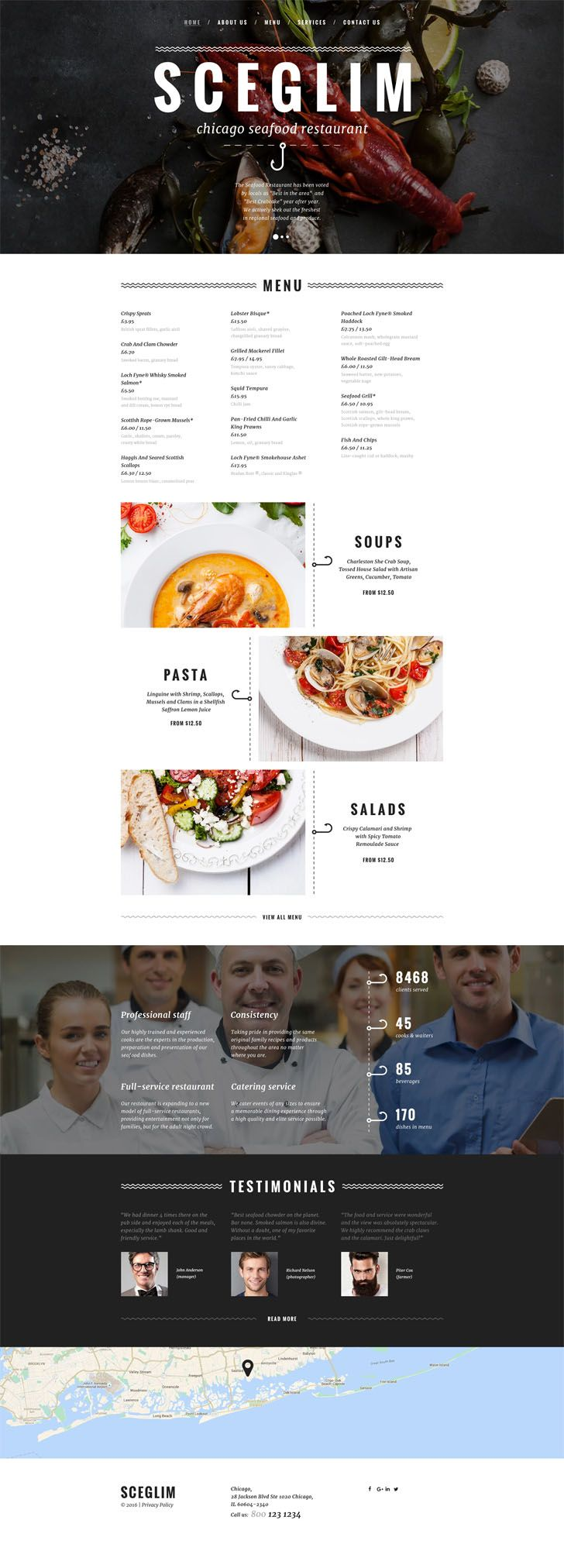 #Seafood #Restaurant #Responsive #Website #Template.Additional Features: Sliced PSD, Back To Top Button, Crossbrowser Compatibility, Dropdown Menu, Favicon, Google map, Google Web Fonts, Live Search Animation: HTML plus JS, Parallax Bootstrap Version: 3.3.x Coding: 1170 Grid System, CSS 3, HTML 5, JQuery, LESS, Semantic Code, Valid Coding Features: Bootstrap, Extra Pages Layouts, On-line chat, Responsive Functionality: Gallery Gallery Script: Slider, TouchTouch