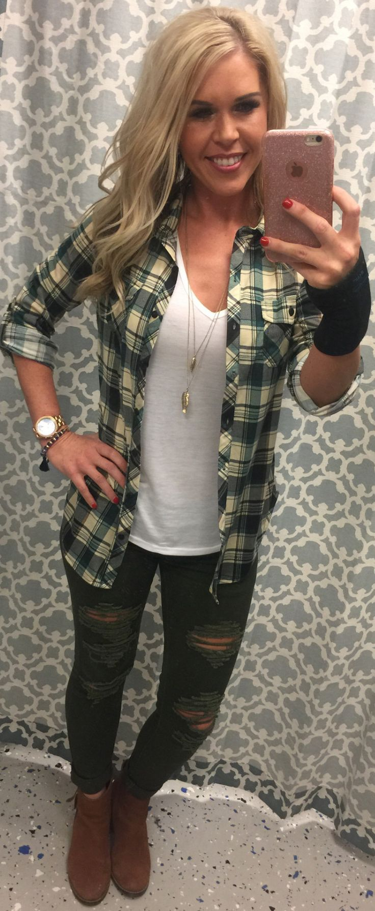 Penny Plaid Flannel Top: Ivory/Brown from privityboutique