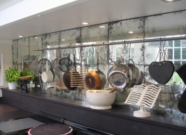 antiqued mirror backsplash kitchens pinterest