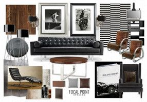 A furnishings mood board illustrating some ideas for masculine interior designs, incorporating neutral colours, dark woods and subtle patterns with a focus on simplicity.