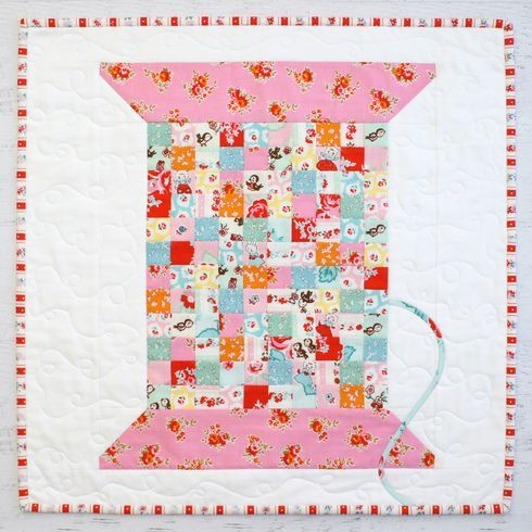 Vintage Cotton Reel Mini Quilt PDF. By Jemima Flendt, Tied with a Ribbon