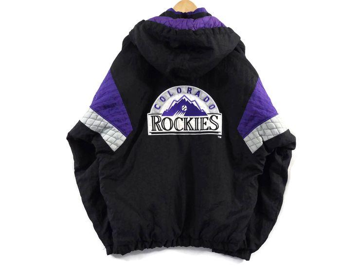 VTG Colorado Rockies Starter Jacket - Large - Hooded - MLB - Baseball - Vintage Clothing - 90s Clothing - Pullover Jacket - Purple and Black by BLACKMAGIKA on Etsy