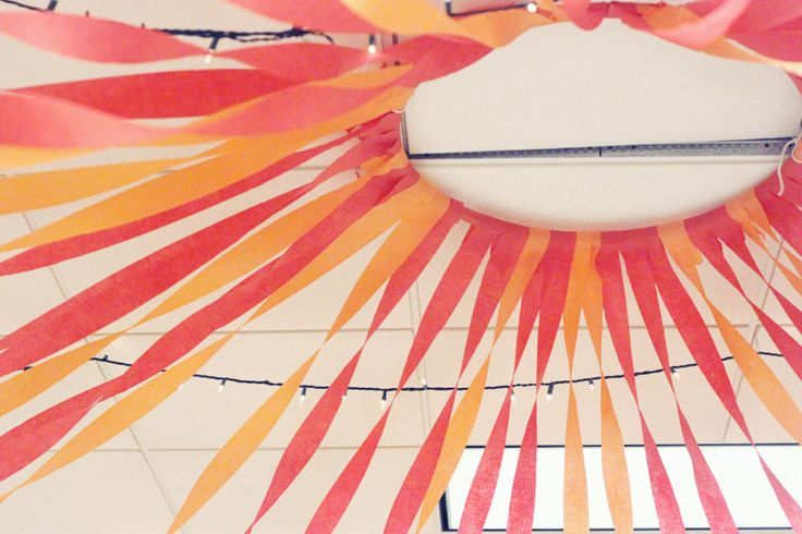 Hula hoop streamers party ceiling decor click to see how for Ceiling streamers