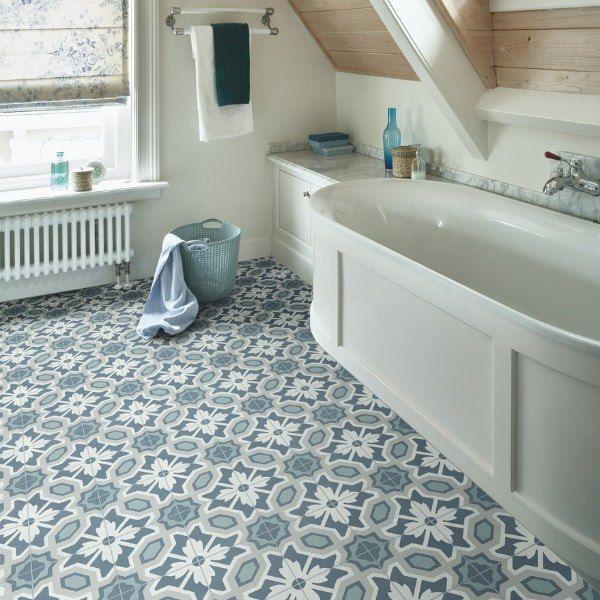 Vinyl Flooring Primrose Blue Beige Floral Country Cottage Floor Tile Design Buy Online Vinyl Flooring Bathroom Bathroom Vinyl Vinyl Flooring