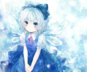 Anime Ice Girl | ... blue hair, cirno, ice, lake, mist ...