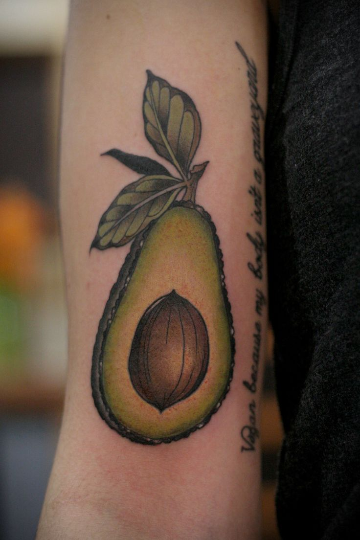 Avocado tattoo  http://kirstenmakestattoos.tumblr.com/post/138829590117/cute-little-avocado-walk-in-to-end-the-week-thank