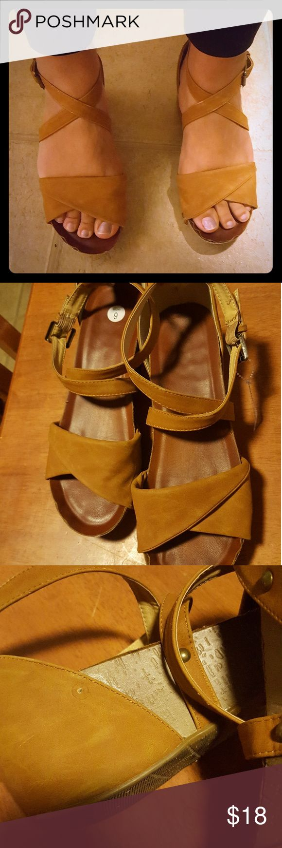 Leather Clog-like Sandal Thick Leather strap sandal with a cork Base. Rubber bottom. Brand: unknown last picture shows either VOG or OG. Did reaserch but unable to.find.  Very comfortable shoe but too big. EUC,one inter-stud missing(Pictured) OG Shoes Mules & Clogs