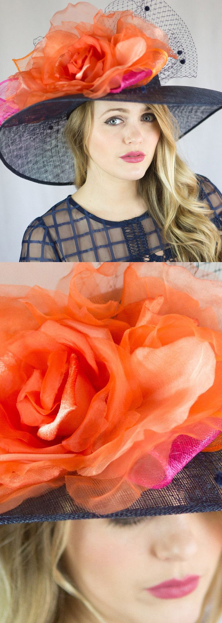 Orange and Navy Floral Kentucky Derby hat a perfect headpiece for Kentucky Derby, Oaks, or Royal Ascot Race Day outfit, or fun hat for mother of the bride in Bright Orange Silk Flower and Navy. Outfit inspiration ideas for spring wedding on day at the races outfits. #weddings #weddingplanning #motherofthebride #kentuckyderbyfashion #royalascot #derbydayoutfits #kentuckyderbyparty #motherofthegroom #springwedding #weddingideas #weddinginspiration #affiliatelink #fashion #fashionista