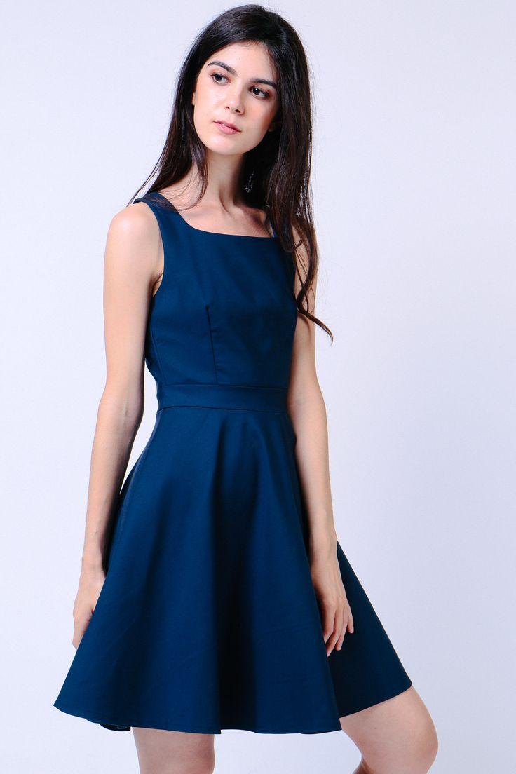 Square Neck Swing Dress (Navy) Image 0