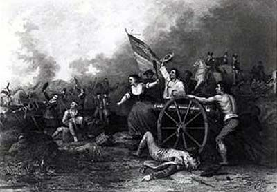 Molly Pitcher at the Battle of Monmouth 28th June 1778