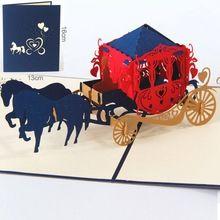 Boda lnvitations carro amor 3D tarjeta de Felicitación de corte de papel cortado con láser Pop-Up de Tarjetas Kirigami tarjetas postales Personalizadas Deseos Regalos 1005(China (Mainland))