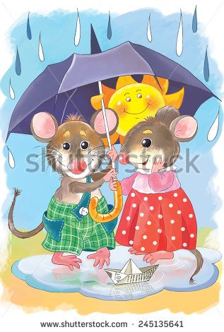 Two cute mice, holding a big umbrella, hiding themselves and the sun under it. Rainy weather