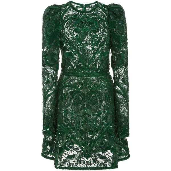 Elie Saab     Beaded Embellished Mini Dress (89.480 NOK) ❤ liked on Polyvore featuring dresses, elie saab, vestidos, green, short green cocktail dress, green cocktail dress, green mini dress, elie saab cocktail dress and mini dress