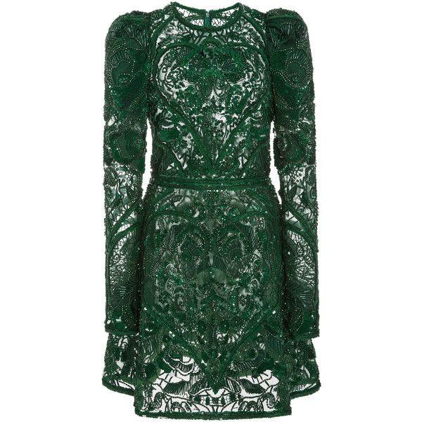 Elie Saab     Beaded Embellished Mini Dress ($10,575) ❤ liked on Polyvore featuring dresses, elie saab, green, sleeve cocktail dress, round neck dress, short beaded cocktail dresses, short dresses and sleeved dresses