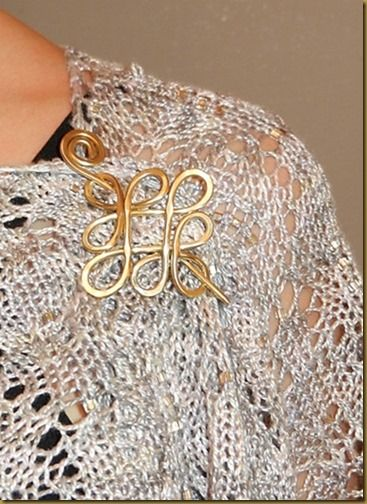 Our brass Celtic crossed loops pin on a Boo Knits shawl
