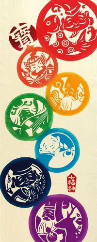 気音間 注染手拭い 七福神【T】【T】【メール便可】/手ぬぐい/てぬぐい/手拭い/コラゾン/和雑貨/和柄/ --------- #japan #japanese