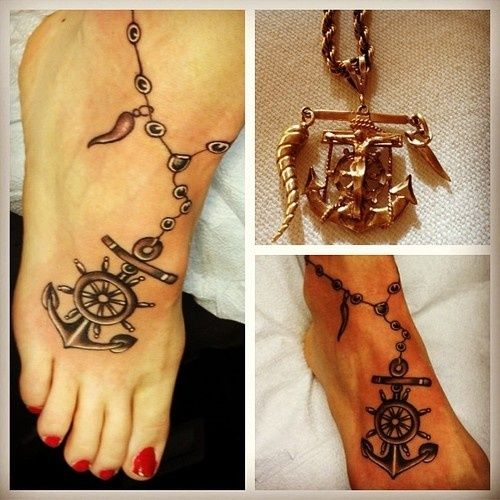 Anchor tattoo on the foot, really pretty actually
