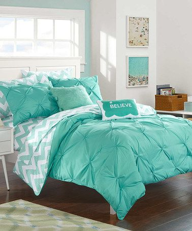 Another great find on #zulily! Aqua Chevron Reversible Microfiber Comforter Set #zulilyfinds