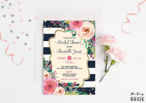 Floral Bridal Shower Invitation. Navy and Gold. Pink and Peach Floral Boho Invite. Watercolor Flowers. High Tea. Kitchen Tea Shower.