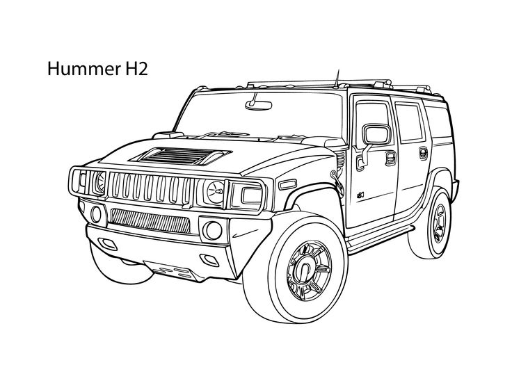 Super car Hummer H2 coloring page, cool car printable free ...