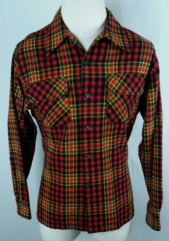 Vintage JC Penney Mens Large Wool Blend Plaid Shirt Retro Western Hip