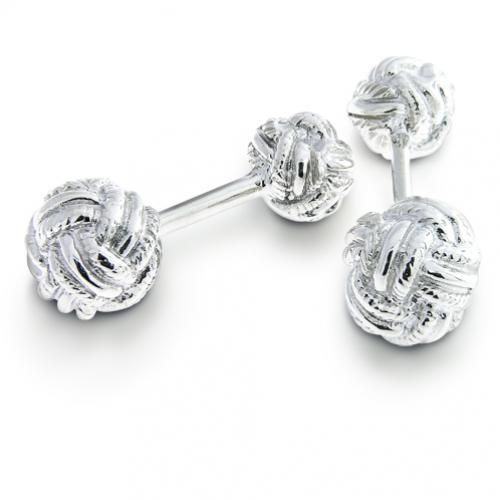 Classic Silver Double Woven Love Knot Cufflinks