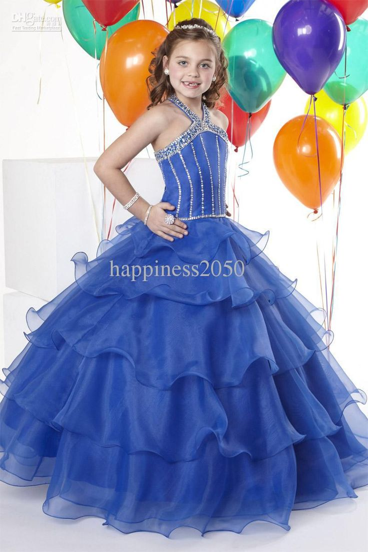 Christmas dress edmonton - Christmas Royal Blue Organza Halter Beads Wedding Flower Girl Dress Girl S Skirt Birthday Pageant Dress Custom Size 2 4 6 8 10 12 F129023