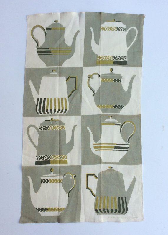 Vintage Martex Towel Tea Pots Coffee Pots Mint by unclebunkstrunk