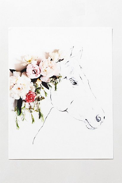 Uno The Horse Print from Anthropologie. 14.5 H X 11.5 W. Limited edition print created in honor of Kaitlyn's Foundation, an organization in Texas that supports special needs children of military families who use horses for therapy – one of those horses being Uno.  A portion of the proceeds is donated to the foundation.  $58.