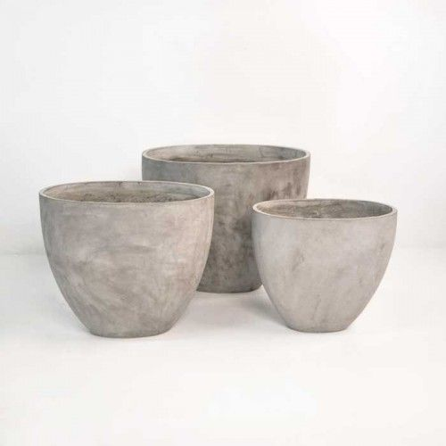 Raw Concrete Brookln Oval Planters