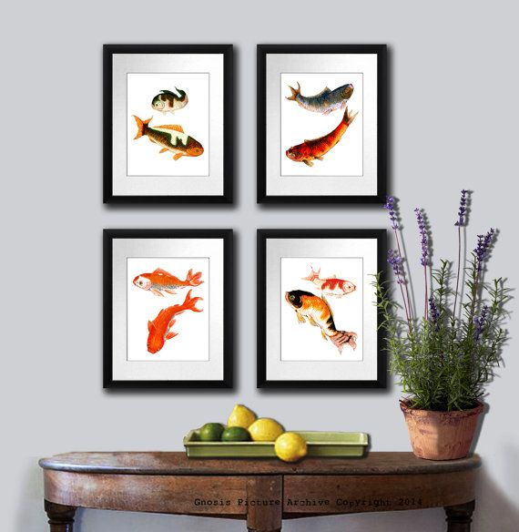 Antique Fish Art Print set of 4 Koi fish art by GnosisSeaLifeArt