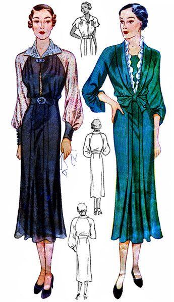 Vintage 30s Art Deco vescovo manica ala collare redingote vestito giacca REPRO cucire modello 110 B34 di VtgFashionLibrary su Etsy https://www.etsy.com/it/listing/203480647/vintage-30s-art-deco-vescovo-manica-ala
