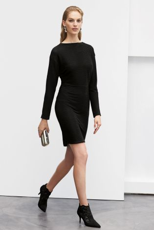 Black Sparkle Drape Dress from Next