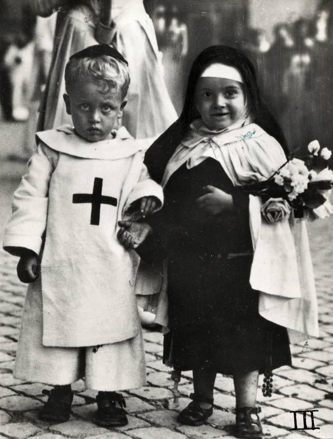 Rome, Italy. 1929 cute , but my Catholic school used to dress 2 children like this for end of year exercises. 1955.