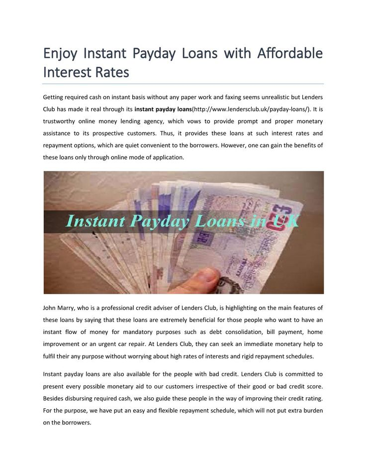 Enjoy instant payday loans with affordable interest rates  Get easily instant payday loans for unemployed, no guarantor and bad credit history people in UK. Click here for more details: http://goo.gl/UJ9fA2