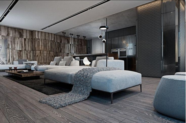 Laminat in Grau und Holz Wandverkleidung für schickes, modernes Raumambiente
