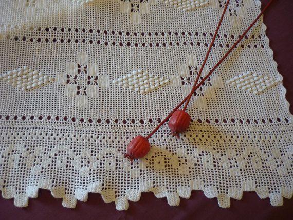 Heavy Vintage White 3D Hand Crocheted Extra por ArtTreasures4You
