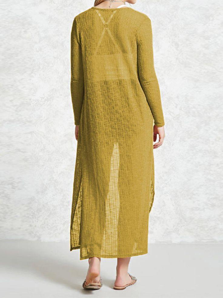 S-5XL Casual Women Knitted Long Maxi Cardigans at Banggood