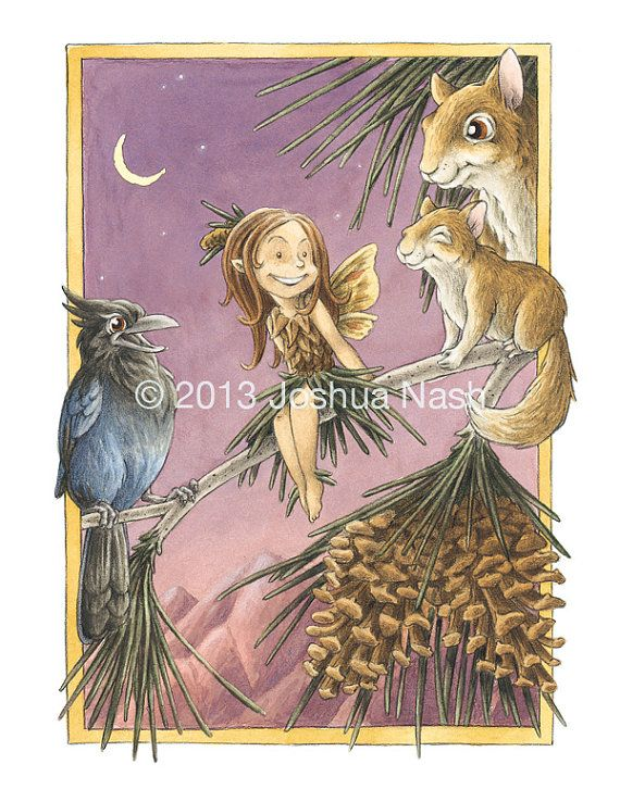 The Jeffrey Pine Fairy can be found among the high-altitude mountain regions of California. She can sometimes be heard chittering among the squirrels and Steller's Jays, but her song is most recognized in the soft whisper of summer breezes through the stately Jeffrey Pines. Smells like vanilla.  Jeffrey Pine Fairy 11 x 14 Open Edition Print by NashIllustrations, $45.00