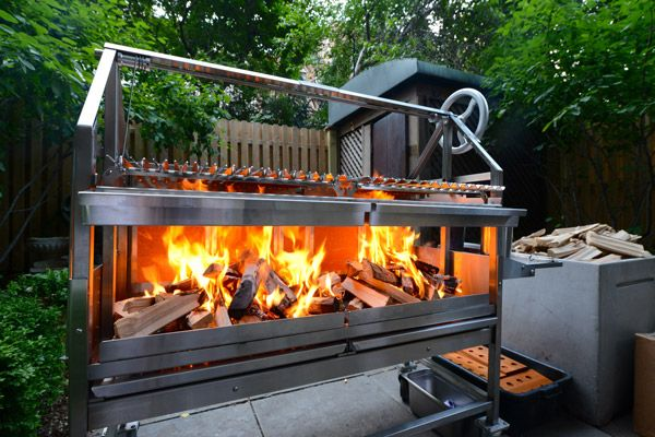 A Grillworks 42 Warming Up The Grillworks 42 is one of our original sizes, making its debut almost 30 years ago. Many improvements and much polish later, the 42 is still a star of any backyard, offering open-fire scale to any serious outdoor chef. The Asador edition pictured is flamed up for a dinner at the James Beard house in New York, where one of our first grills lived (with Mr Beard himself).