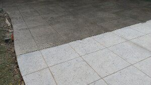 before and after the stamped concrete sealer