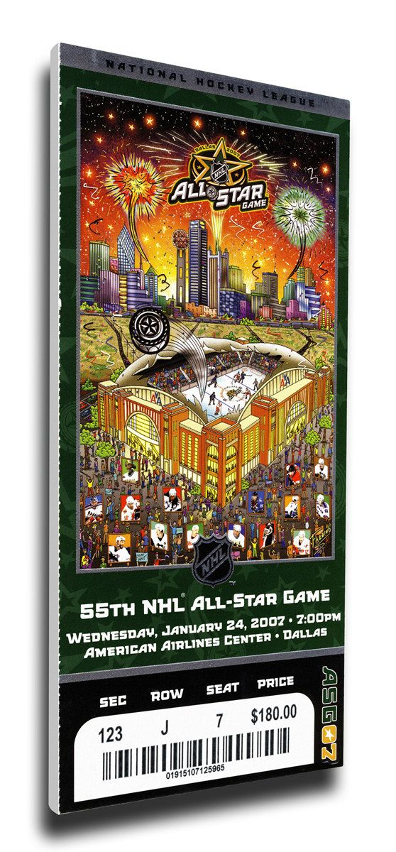 2007 NHL All Star Game Canvas Mega Ticket - Stars Host - American Airlines Center