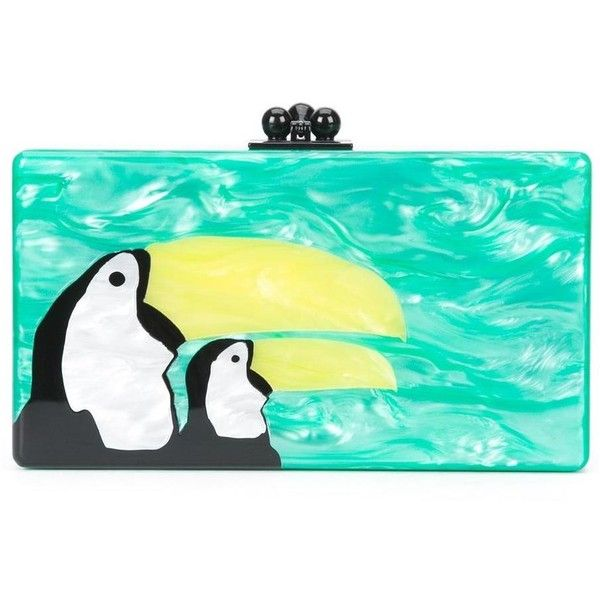 Edie Parker Green Pelican Print Clutch Bag ($1,295) ❤ liked on Polyvore featuring bags, handbags, clutches, green, green purse, pattern purse, green clutches, hard clutch and print handbags